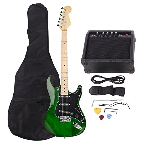 ISIN Full Size Electric Guitar for Music Lover Beginner with Amp and Accessories Pack Guitar Bag (green) by ISIN