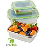 JaceBox Stainless Steel Food Containers - Food Preservation Lunch Box Leak Proof - Light and Easy to Store.Set of 3! Bento Box ready Eco-Friendly Portion Control Storage. BPA FREE by JaceBox!