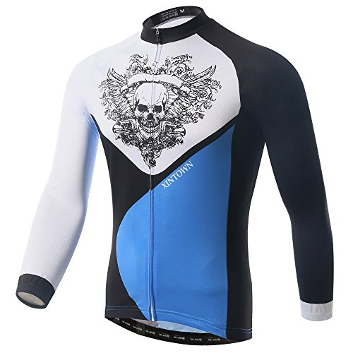 CN'Dragon Skull Men's Breathable Long Sleeve Cycling Jers...