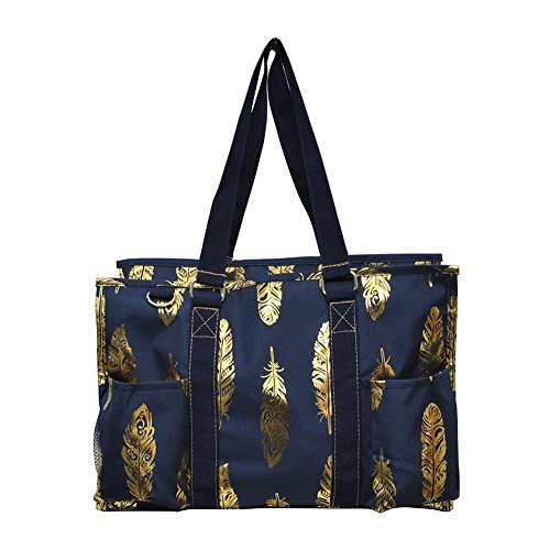 N Gil All Purpose Organizer Medium Utility Tote Bag 4 - 2017 Fall New Pattern (Gold Feather Navy)