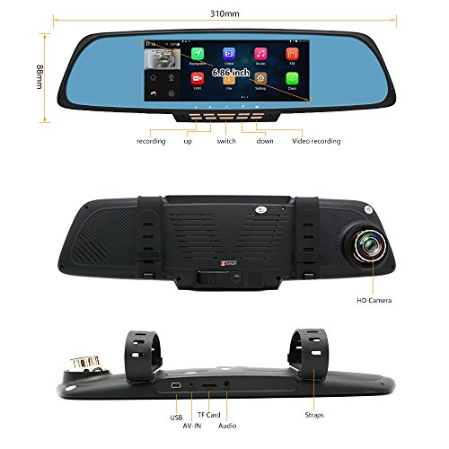 "junsun 6.86"" Dual Lens Car GPS DVR GPS Navigation Rearview Mirror Camera Full HD 1080P Video Dash Cam Recorder"