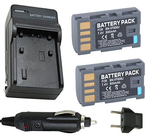 Battery (2-Pack) and Charger for JVC Everio GZ-HM400, - Jvc Avchd Charger
