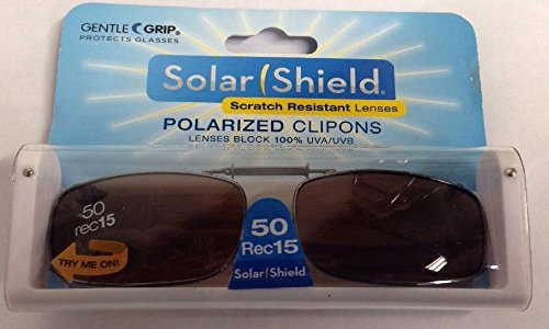 SOLAR SHIELD Clip-on Polarized Sunglasses Size 50 Rec 15 Brown Full Frame NEW