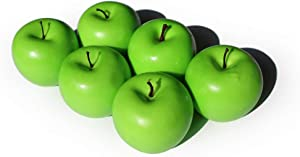 Artificial Apples Fake Frutis Apples, Simulation Apples for Home Decoration Lifelike Normal Size Apples Fake Apples for Kichen Party Chirstmas Decor (6 Pcs Green Apple)