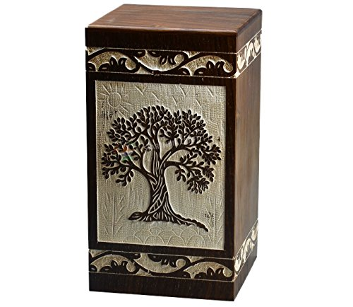 Wooden Box Tribute (STAR INDIA CRAFT Tree of Life Engraving Rosewood Cremation Urns for Ashes, Funeral Urns for Human Ashes Adult Large Keepsake Urn, Wooden Box 250 Cu/In)