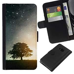 // PHONE CASE GIFT // Moda Estuche Funda de Cuero Billetera Tarjeta de crédito dinero bolsa Cubierta de proteccion Caso HTC One M9 / Night Stars & Tree /