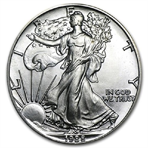 1988-1 Ounce American Silver Eagle Shipping .999 Fine Silver with our Certificate of Authenticity Dollar Uncirculated US Mint ()