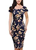 Lyrur Women's Floral Summer Sheath Scoop Neck Knee-Length Church Dresses (S, 9006-Navy)