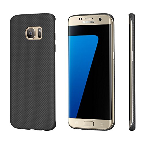 Samsung S7 Edge Case, PITAKA [Aramid Fibre] 0.65mm Ultra Thin Minimalistic Phone Protective Classic Black Checker Cases for Samsung S7 Edge - Black/Grey Plain - Fibre Case