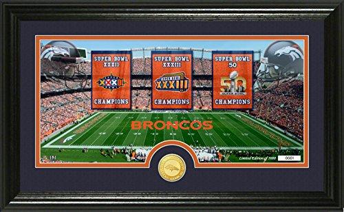 NFL Denver Broncos Super Bowl Traditions Bronze Coin Panoramic Photo Mint Frame, Black (Mint Photo Team)