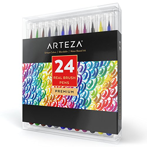 Arteza Real Brush Pens - 24-Colors - Watercolor Markers