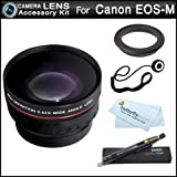 Wide Angle Lens Kit For Canon EOS M, EOS-M Compact Systems Digital Camera (That Use EF-M 22mm f/2 STM and EF-M 18-55mm STM lens) Includes 43mm-52mm Ring Adapter + .43x Wide Angle Lens W/ Macro + More