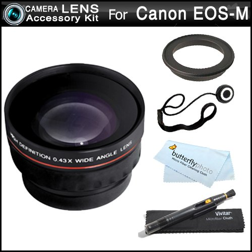 (Wide Angle Lens Kit For Canon EOS M, EOS-M Compact Systems Digital Camera (That Use EF-M 22mm f/2 STM and EF-M 18-55mm STM lens) Includes 43mm-52mm Ring Adapter + .43x Wide Angle Lens W/ Macro + More)