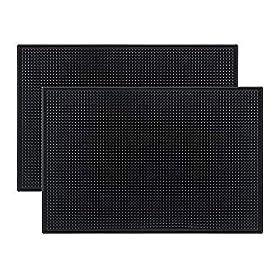 Tebery Black Mat 18″ x 12″ Rubber Bar Service Spill Mat (2 pack)