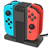 Joy-Con Charger for Nintendo Switch, Fosmon [LED Indicator | High Speed Charging] 4-in-1 Joy Con Charging Dock Station Stand with USB Type-C Cable for Joy-Con Controller