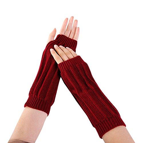 Women Winter Warm Fingerless Knitted Long Gloves Mitten Wrist Arm Hand Warmer Crochet Thumbhole Knit Wrist Warmers by BingYELH (Image #2)