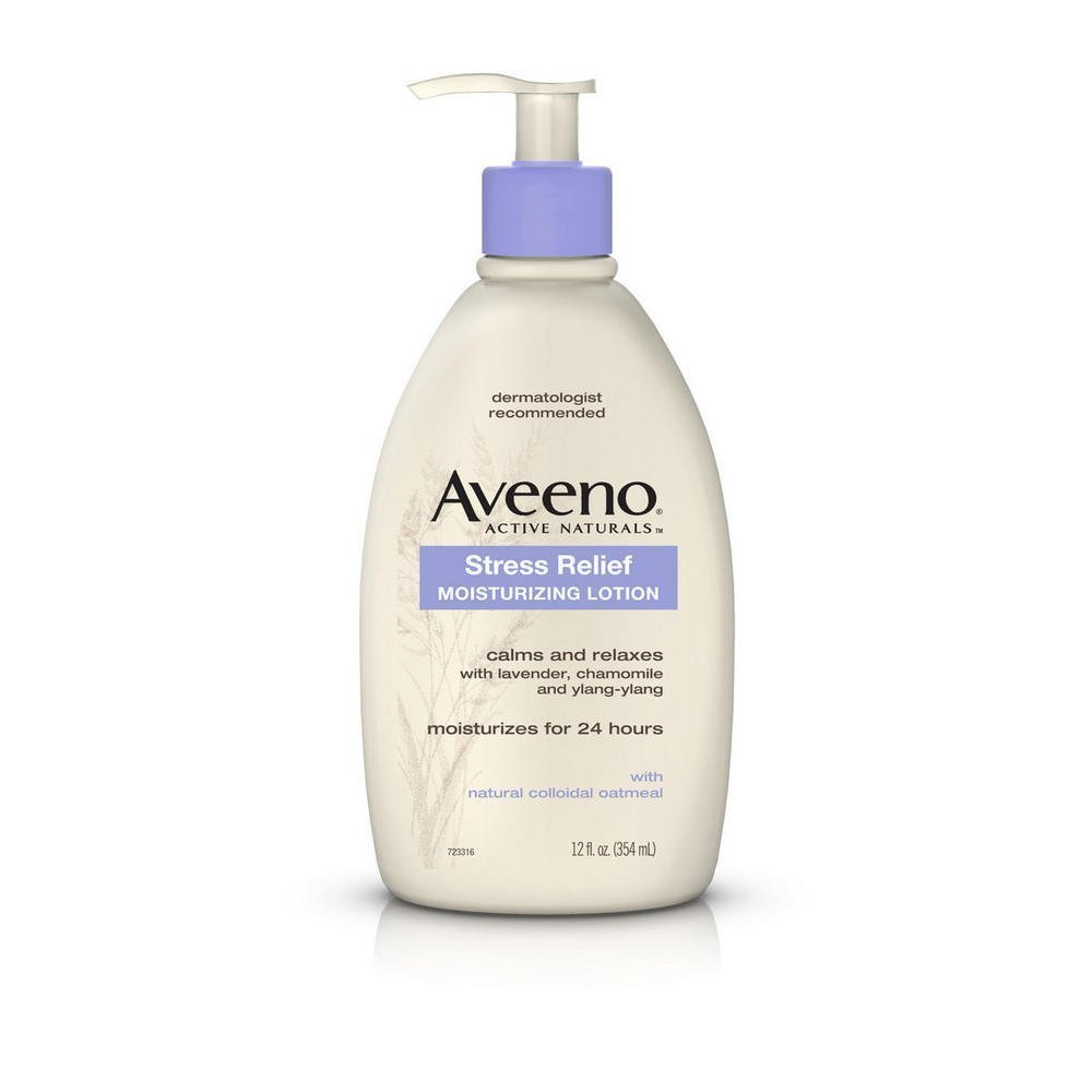 Aveeno Stress Relief Moisturizing Body Lotion with Lavender, Natural Oatmeal and Chamomile & Ylang-Ylang Essential Oils to Calm & Relax, 12 fl. oz (Pack of 2)