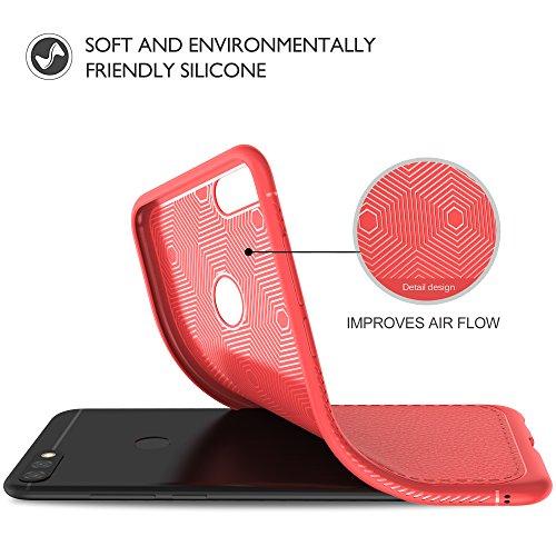 Funda Huawei Y9 2018, iBetter [Funda blanda] Funda blanda a prueba de golpes nueva, funda de silicona TPU Funda Huawei Y9 2018 para teléfono inteligente. Gris Rojo