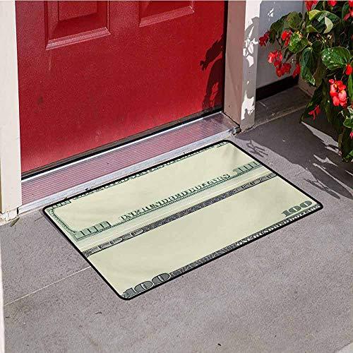 Jinguizi Money Front Door mat Carpet Hundred Dollar Bill Century Note Design American Currency Style Frame Pattern Machine Washable Door mat W15.7 x L23.6 Inch Pale Green Grey