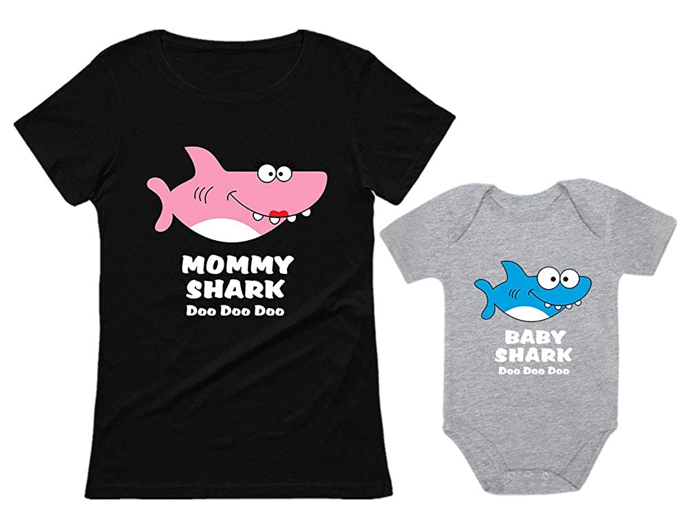 Baby Shark & Mommy Shark Doo Doo Doo T-Shirt Bodysuit Set for Mother and Baby nCs9nMvg