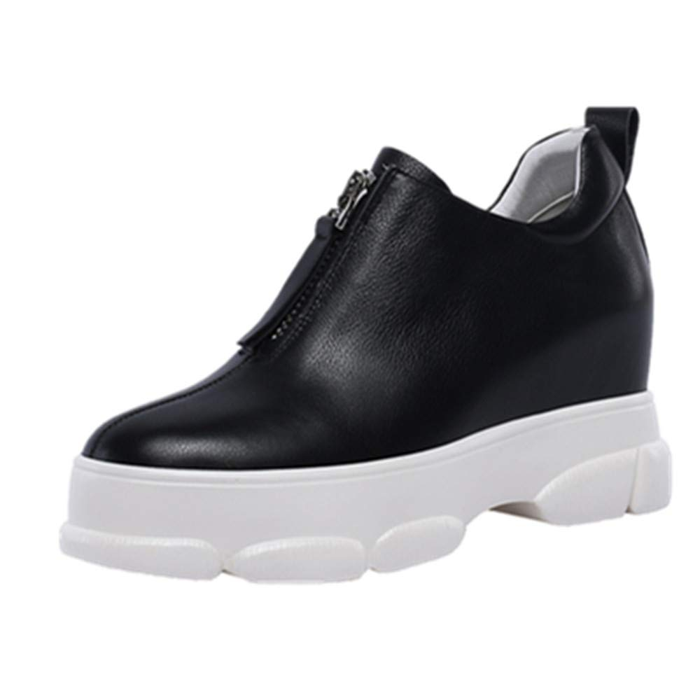 Black Nine Seven Genuine Leather Women's Round Toe Flat Platform Wedge Heel Cute Handmade in Front Zip Women Pumps