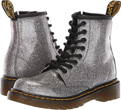 Dr. Martens Kid's Collection Girl's 1460 Patent Glitter Junior Delaney Boot (Little Kid/Big Kid) Gunmetal Coated Glitter 2 M UK ()
