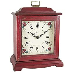 Qwirly Store: Austen Bracket-Style Quartz Mantel Clock by Hermle 22518RDQ - Classic Decorative Antique Style Table Clock with Westminster Chime Movement - Red