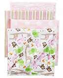 Carter's Baby Girls 4 Pack Flannel Receiving Blanket, Girly Zebra Print, One Size