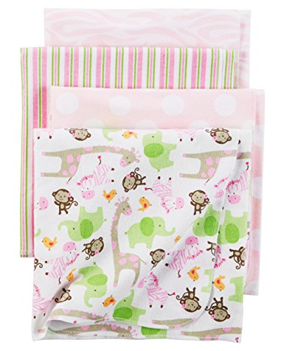 Carter's Baby Girls 4 Pack Flannel Receiving Blanket, Girly Zebra Print, One Size by Carter's