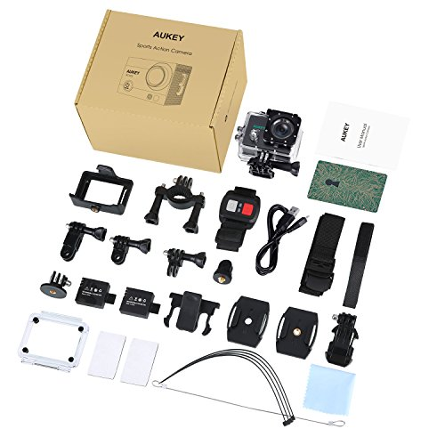 AUKEY Action Camera, 4K Ultra HD Waterproof Sports Camera with 170° Wide Angle Lens, 2 Pcs Rechargeable Batteries, WiFi Phone Connection and 2.4GHz Remote