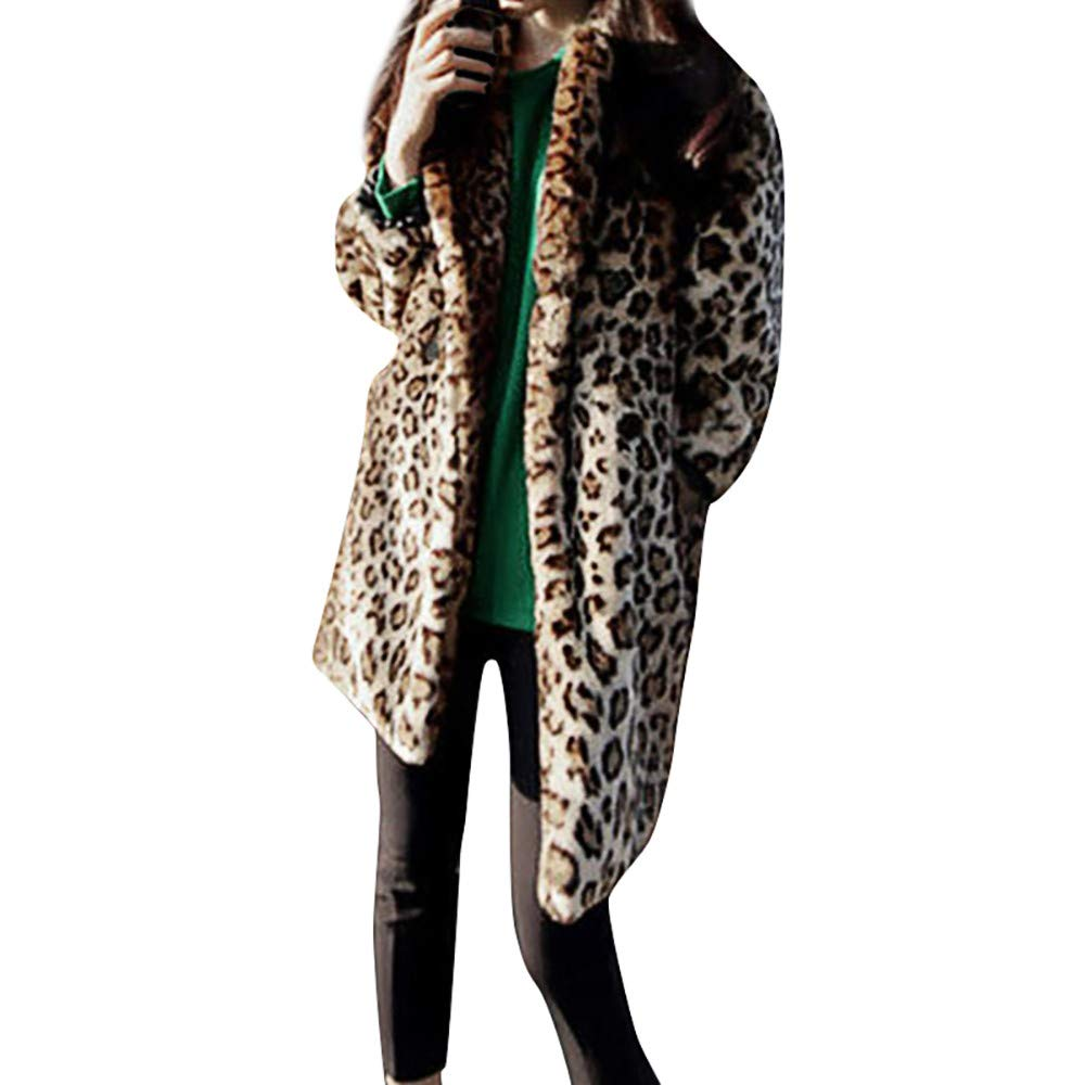 Women Leopard Print Faux Fur Warm Cardigan Vest AmyDong Casual Animal Jacket Coat Outwear
