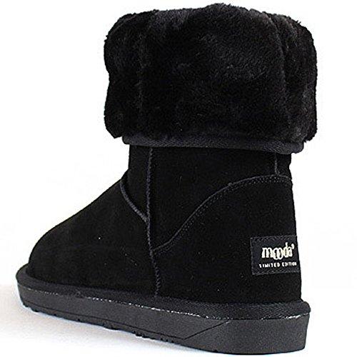 New Mooda Snow Winter Warm Womens Moda Moda Stivali Di Pelle Scarpe Nere