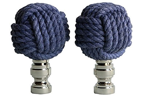 Nautical Knot Lamp Finials in Blue on Shiny Chrome Bases - A Pair