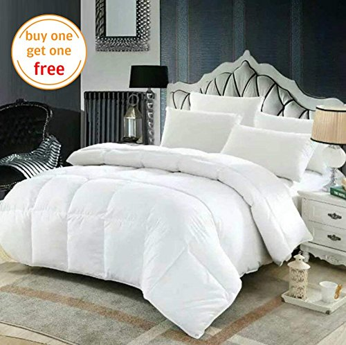 All Season White Down Alternative Quilted Comforter Hypoallergenic Plush Microfiber Fill Machine Washable Duvet Insert or Stand-Alone Comforter - King