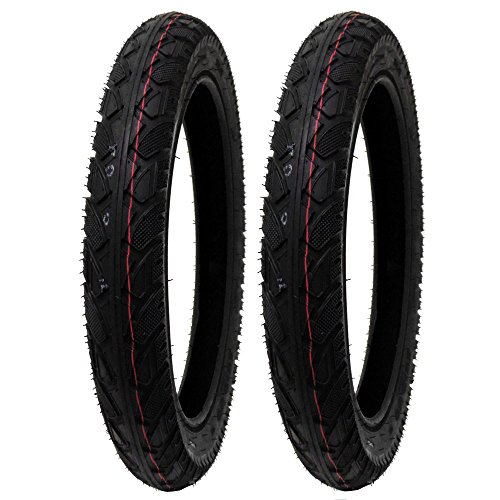 (SET OF TWO: All-Terrain Tread Tire Size 16x2.50 (65-305) Fits Electric Bikes (e-bikes), Kids Bikes, Small BMX and Scooters Fits 12