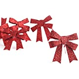 Package of 36 Small Red Glittery Plastic Bow Tie Ons for Tree Trim, Package Embellishing and Decorating