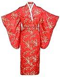 Kimono Palace Women's Traditional Plum Classy Kimono Robe With Bag