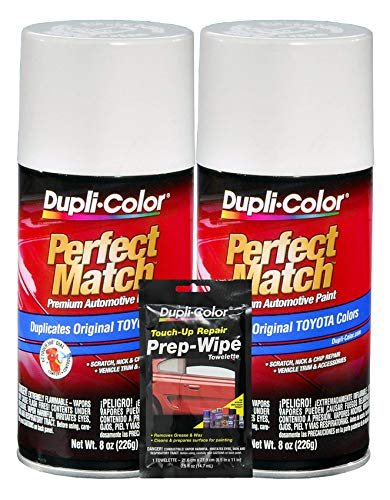 Dupli-Color Natural White Toyota Exact-Match Automotive Paint - 8 oz, Bundles Prep Wipe (3 Items)