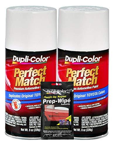 Dupli-Color Natural White Exact-Match Automotive Paint for Toyota Vehicles - 8 oz, Bundles Prep Wipe (3 Items)