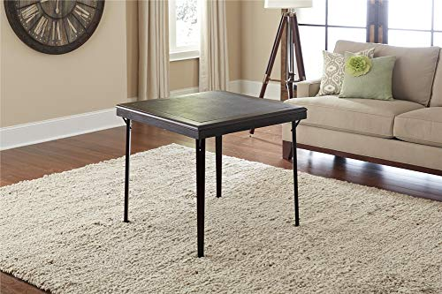 Cosco 14260ESPE Folding Wood Table Square with Vinyl Inset, Espresso Black
