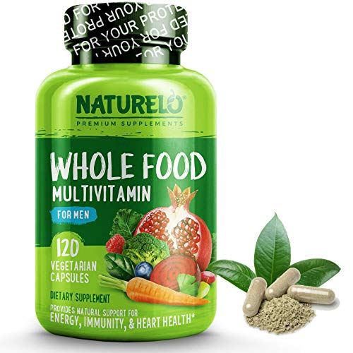 Naturally 60 Vegetable Capsules - NATURELO Whole Food Multivitamin for Men - Natural Vitamins, Minerals, Antioxidants, Organic Extracts - Vegetarian - Best for Energy, Brain, Heart, Eye Health - 240 Vegan Capsules