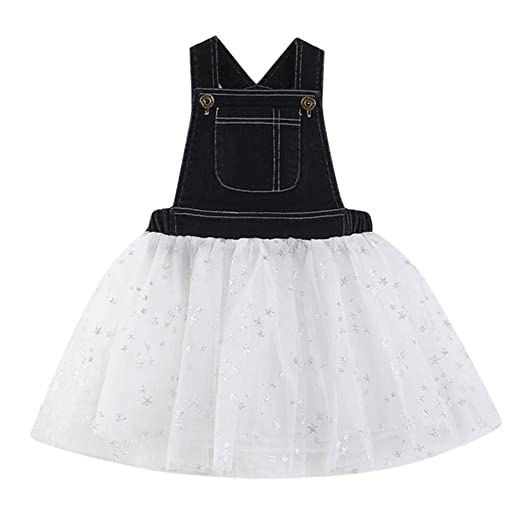 f0058fd5f15 NUWFOR Toddler Kids Baby Girls Dress Denim Splice Tulle Party Pageant  Princess Dresses(Black
