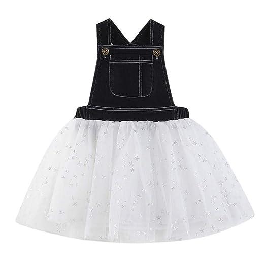 5315d74f2822b6 NUWFOR Toddler Kids Baby Girls Dress Denim Splice Tulle Party Pageant  Princess Dresses(Black