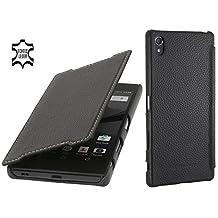StilGut Book Type, Genuine Leather Case, Cover for Sony Xperia Z5 Premium & Z5 Premium Dual, Black