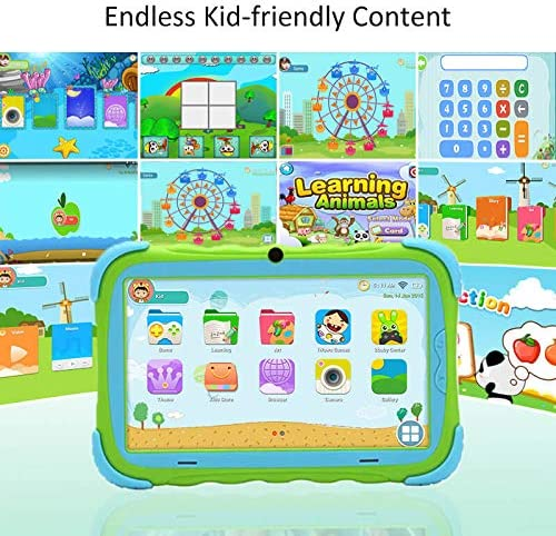 Surfans Kids Tablet, 2GB RAM 16GB ROM, 7 Inch IPS HD Eye Protection Display, WiFi Camera And Kids-Proof, Android Tablet For Toddlers