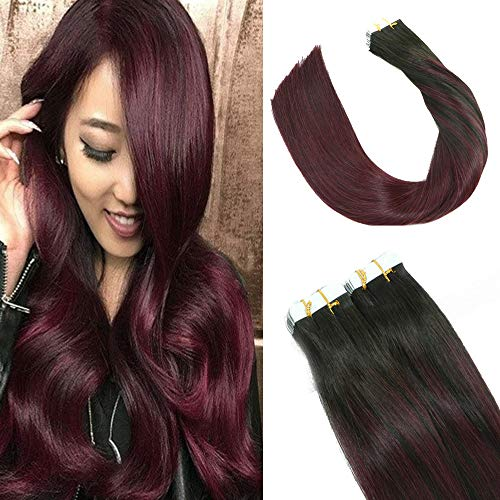 2019 Fashion Hair Color HUAYI Wine Red Ombre Natural Black Tape In Hair Extensions Human Hair 50g 20Pcs Soft Thick End Tangle Free Tape Durable Silky Straight Hair Extensions Balayage Hair(1B99#14
