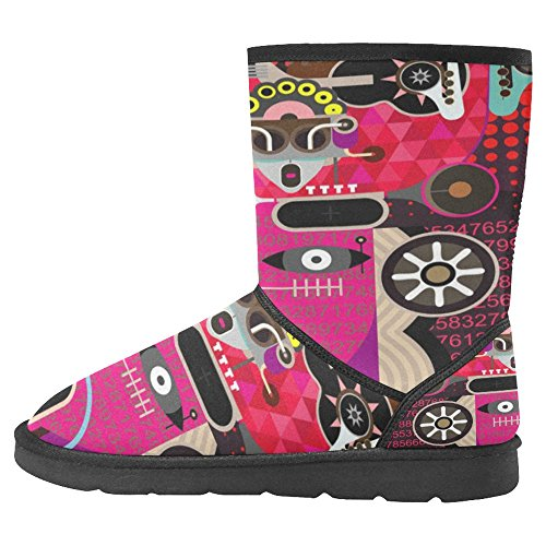 Multi Shouting Winter Designed Boots Boots Man Abstract Portrait 1 Womens Modern Graphic InterestPrint of Art Snow Comfort Unique nHYBag6q6w
