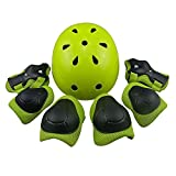Child Multi-Sport Helmet With Knee Pads Elbow Wrist Protection Set for Skateboard Cycling Skate Scooter Yellow