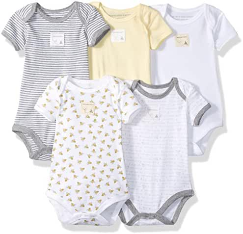 Burt's Bees Baby - Set of 5 Bee Essentials Short Sleeve Bodysuits, 100% Organic Cotton