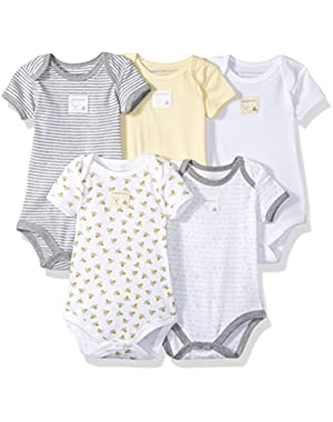 Set of 5 Essentials Short Sleeve Bodysuits, 100% Organic Cotton
